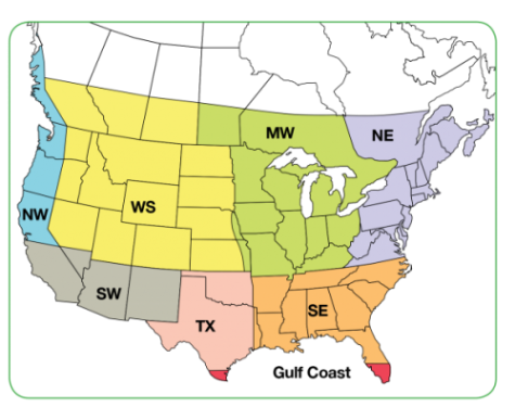 Applewood Seed Company Regional Wildflower Seed Mix Map